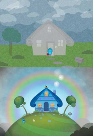 Making Fiends (TV series) - Charlotte's house in the web series (top) and in the TV series (bottom).