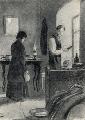 Anyuta (short story) - 1954 illustration by Kukryniksy