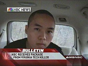 Seung-Hui Cho - Screenshot from the MSNBC coverage of several videos Seung-Hui Cho sent to NBC News