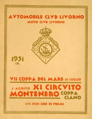 Coppa Ciano - Coppa Ciano poster, 1931.
