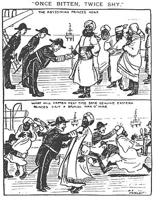 Dreadnought hoax - Daily Mirror cartoon, February 1910