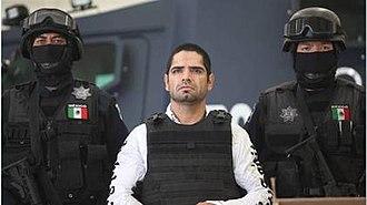 La Línea (gang) - Acosta Hernández (a.k.a. El Diego), a former leader of La Línea in front of cameras.