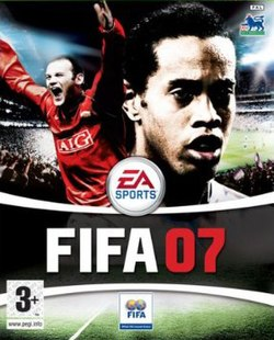 UK version cover art featuring Ronaldinho (right) and Wayne Rooney