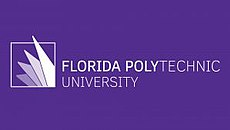 """Florida Polytechnic, over University on two lines, left aligned and in white over a purple background with """"Florida Poly"""" in boldface. To the left, there are four overlapping triangles inside a while outline of a box, with the largest triangle overflowing the bounds of the box."""