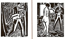 Two panels from wordless novel. On the left, a man carries a woman through the woods. On the right, a man looks at a nude in a studio.