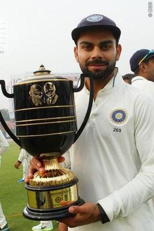 Freedom Trophy (cricket) - Virat Kohli with The Freedom Trophy