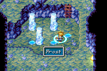 An image of series protagonist, Isaac, turning puddles of water into ice pillars to form a navigable jumping route to a new location with Psynergy.