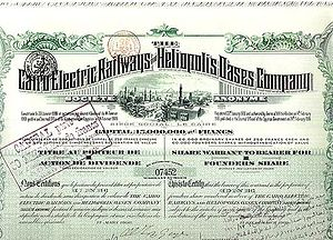 Cairo Electric Railways and Heliopolis Oases Company - Cairo Electric Railways and Heliopolis Oases Company certificate