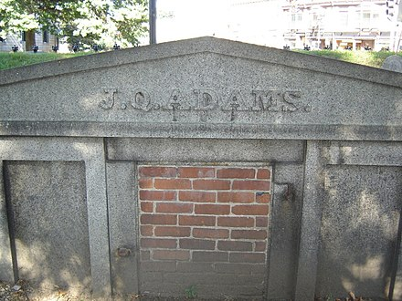 John Quincy Adams's original tomb at Hancock Cemetery, across the street from United First Parish Church JQ Adams Vault, Hancock Cemetery.jpg