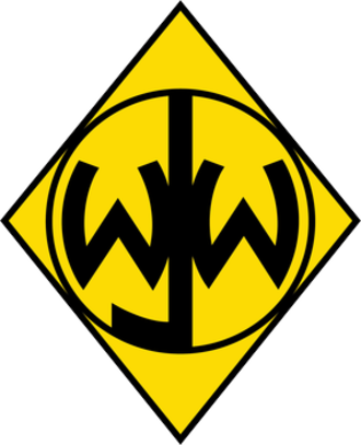 Junior Woodchucks - The Junior Woodchucks of the World emblem. It is based on the acronym of the organization's name and an upside down version of the image of Thoth, the Egyptian God of Knowledge, that was used by the Guardians of the Library of Alexandria.