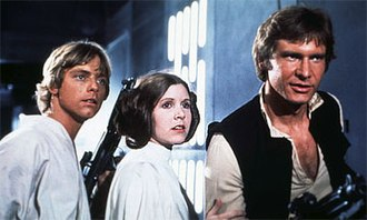Star Wars (film) - From left to right: Luke Skywalker (Mark Hamill), Princess Leia (Carrie Fisher), and Han Solo (Harrison Ford)