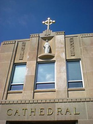 Cathedral High School (Indianapolis) - Mary on the facade of the main building
