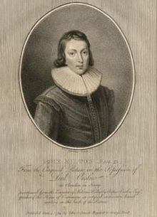 Engraving of John Milton aged 21 by William Nelson Gardiner.