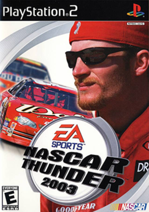NASCAR Thunder 2003 - PlayStation 2 cover art Pictured: Dale Earnhardt, Jr.