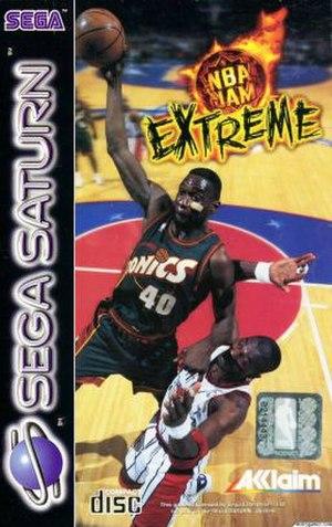 NBA Jam Extreme - Sega Saturn cover art featuring Shawn Kemp and Hakeem Olajuwon