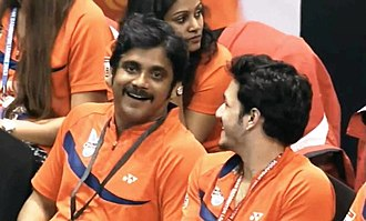 Akkineni Nagarjuna - Co-owner Nagarjuna during Mumbai Masters Match at Indian Badminton League 2013