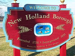 New Holland Borough Sign in front of Garden Spot High School