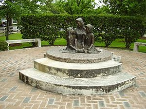"Spring Valley Village, Texas - ""Love's Embrace,"" a statue of Pam Lychner and her daughters at Spring Valley Village City Hall"