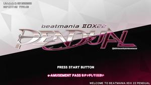 Beatmania IIDX 22: Pendual - Screenshot of the game's title screen.