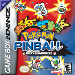 The logo depicts a large Poké Ball being ridden by Pokémon including Pichu, Pikachu, Treecko, Torchic, and Mudkip. The background is red and blue, and depicts several other Pokémon with Poké Balls.