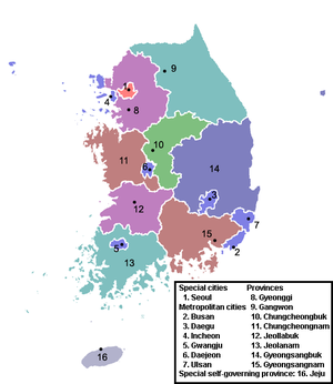 Provinces of Korea - Image: Provinces of South Korea (numbered map)