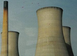 A256 road - The Cooling towers at the disused Richborough Power Station
