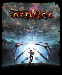 "The word ""sacrifice"" is emblazoned in yellow, outlined irregularly in red, over a sky of purple-black clouds. A giant spectral skeleton, his left eye closed and his right glowing orange, proffers a globe of light. A human figure in the foreground runs toward it."