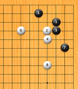 Joseki - A san san Joseki: Black gets secure territory in the corner, and White gets outside (center) influence.  The result is deemed equal, thus the sequence is a Joseki.