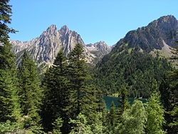 San Maurici lake in the Aigüestortes i Estany de Sant Maurici National Park