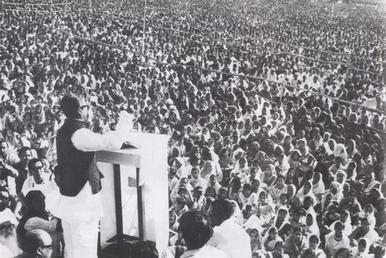 Sheikh Mujib giving speech 7th March
