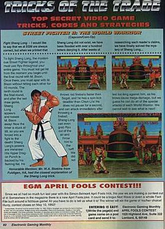 Sheng Long - Coupled with edited screenshots, the hoax inspired many to try to fight Sheng Long in Street Fighter II.