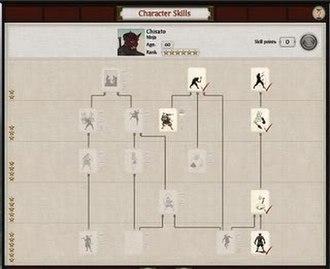 Total War: Shogun 2 - Shogun 2 added the ability to unlock traits and special abilities for generals and agents as they gain experience. A ninja skill tree is seen in this screenshot.