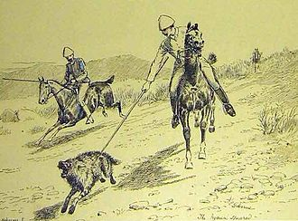 A striped hyena being speared in British India, as illustrated in the Illustrated London News Speared hyena.JPG