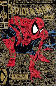 """Spider-Man #1, later renamed """"Peter Parker: Spider-Man"""" (Aug. 1990; black & gold edition). Cover art by Todd McFarlane."""