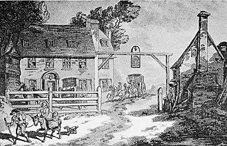 Coaching inn - Painting of the first Cock Hotel in Sutton, Surrey by Thomas Rowlandson in 1789.