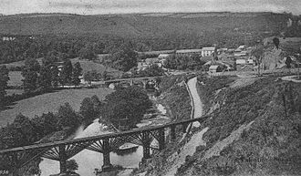 Great Torrington - The narrow gauge wooden viaduct over the Torridge in 1905