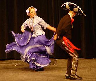 Jarabe Tapatío - Mexicans dancing Jarabe Tapatío in Guadalajara, Mexico