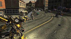Transformers: The Game - Bumblebee battles Decepticon drones.