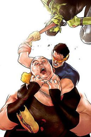 Blob (comics) - Ultimate Blob in a chokehold by Cyclops with Toad's tongue around his arm.