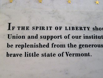 Brave Little State of Vermont speech - Detail of Coolidge's Brave Little State of Vermont speech inscribed in marble at the Hall of Inscriptions of the Vermont State House.