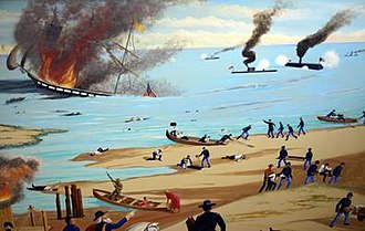 20th Indiana Infantry Regiment - Mural painted by Crown Point artist Marion Kellum depicting the 20th Indiana's service at the Battle of Hampton Roads.  The mural adorns a wall at Crown Point's Col. John Wheeler Middle School.