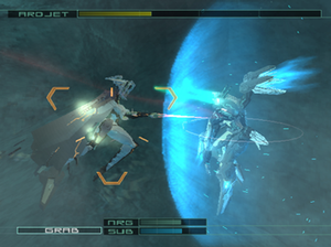 Zone of the Enders: The 2nd Runner - Jehuty shielding against the attack of a boss enemy. Enemy health is indicated on the top of the HUD, while player health, energy, and sub-weapon are below.