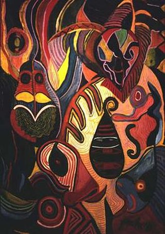 Pacita Abad - Ati-Atihan (1983). Acrylic on stitched and padded canvass.