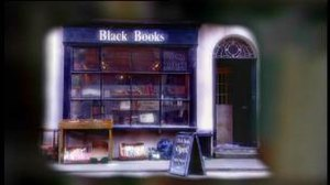 Black Books - Title screen featuring the front of Black Books.