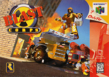 "Traditional Nintendo 64 box art with red-colored duotone overlay along the right side of the box. The console logo in the upper right, with an indication that the game is exclusive to the console, and the ESRB content rating in the lower right. The Blast Corps logo is in the upper left: a diagonal ""BLAST"" in red, capital letters, atop a yellow and black ""toxic"" symbol. The Rareware yellow and blue logo resembling the curve of the letter ""R"" is in the bottom left. The horizon of the background is slanted to the right: a trump truck is slamming into a building, a fiery explosion extends from the collision site, a polygonal humanoid figure hovers above the dump truck, and a red fire engine-like vehicle with two cylinders mounted atop approaches from the right."