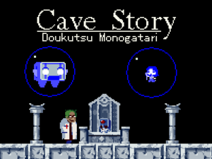 Cave Story - English title screen of Cave Story, depicting (from left) Balrog, the Doctor, and Misery