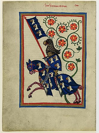 Hartmann von Aue - Portrait of Hartmann von Aue from the Codex Manesse (folio 184v)