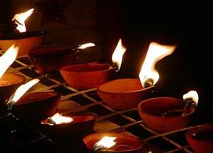 Culture of Trinidad and Tobago - Diyas lighting on Divali night in Trinidad and Tobago.