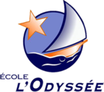 A logo design with a boat sailing on the sea with a large orange star shining beside it.