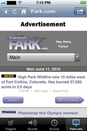 Fark - Screenshot depicting the design of the Fark iPhone app (2012)